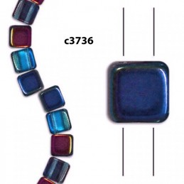 C3736 Czech Glass 2-hole Tile Beads MAGIC BLUE PINK  6mm SPECIAL PRICE