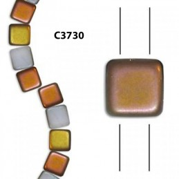 C3730 Czech Glass 2-hole Tile Beads FROSTED CHALK CAPRI 6mm