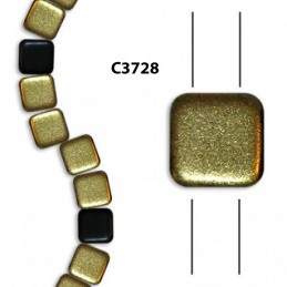 C3728 Czech Glass 2-hole Tile Beads FROSTED BLACK GOLD  6mm