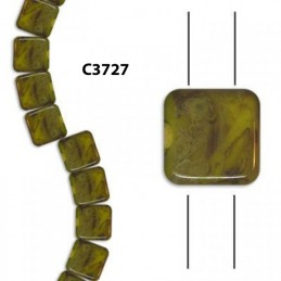 C3727 Czech Glass 2-hole Tile Beads YELLOW w/ PICASSO  6mm
