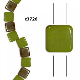 C3726 Czech Glass 2-hole Tile Beads GREEN CELSIAN  6mm