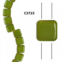 C3723 Czech Glass 2-hole Tile Beads GREEN  6mm