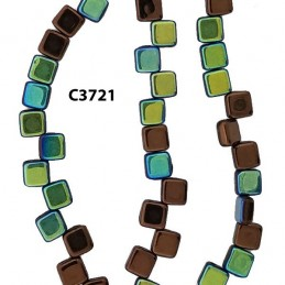 C3721  Czech Glass 2-hole Tile Beads DARK BRONZE AB 6mm
