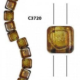 C3720  Czech Glass 2-hole Tile Beads CRYSTAL PICASSO 6mm