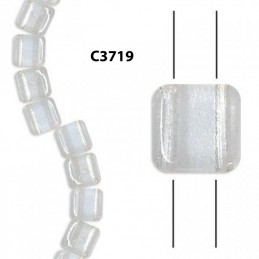 C3719 Czech Glass 2-hole Tile Beads CRYSTAL  6mm