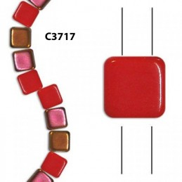 C3717 Czech Glass 2-hole Tile Beads CORAL SLIPERT  6mm