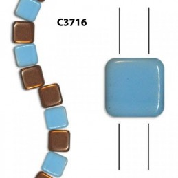 C3716  Czech Glass 2-hole Tile Beads TURQUOISE CAPRI 6mm