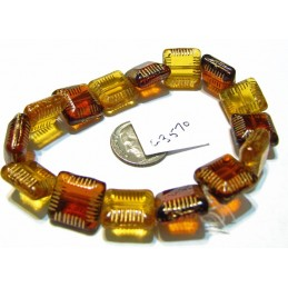 C3570 Czech Glass Chunky Square Bead ALLOY ORANGE & YELLOW GOLD w/ GOLD FINISH  14mm