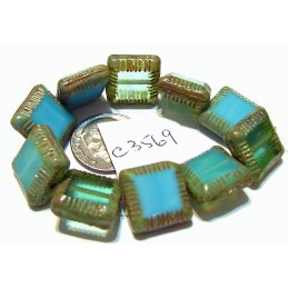 C3569 Czech Glass Chunky Square Bead BLUE / GREEN MIX w/ PICASSO  14mm