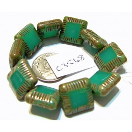 C3568 Czech Glass Chunky Square Bead SEA GREEN w/ PICASSO  14mm