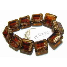 C3382 Czech Glass Chunky Square Bead TOPAZ w/ GOLD 14mm