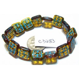 C3283 Czech Ornamental Rectangle Bead AMBER w/ TURQUOISE WASH 11x12mm