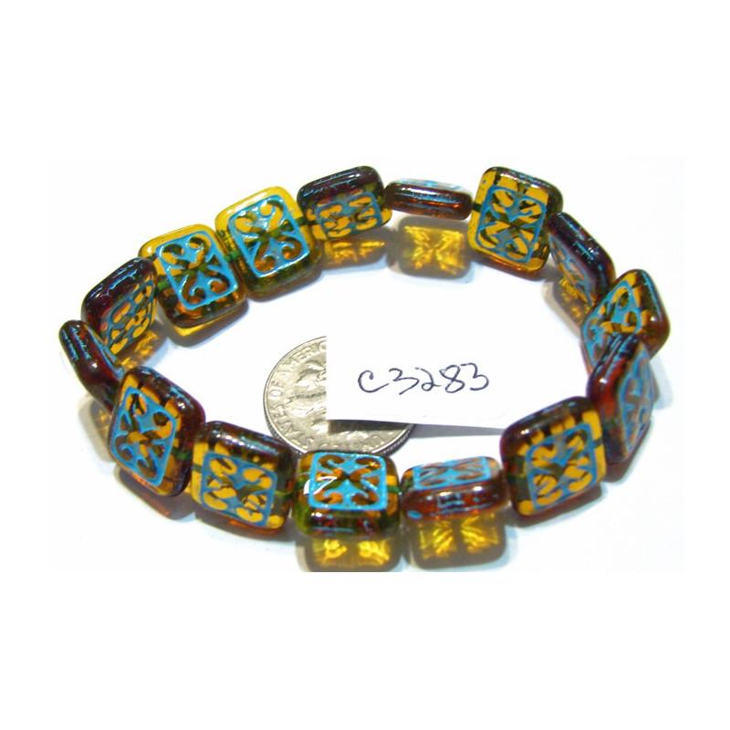 C3283 Czech Ornamental Rectangle Bead AMBER w/ TURQUOISE WASH 11x12mm
