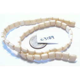 C3189  Czech Glass 2-hole Square Bead IVORY  6mm