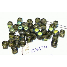 C3170 Czech Glass Cube Bead LIGHT SMOKY TOPAZ AB 5mm