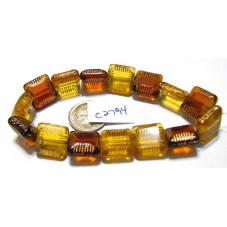 C2794 Czech Glass Chunky Square Bead DARK & LIGHT TOPAZ GOLD WASH MIX  10mm