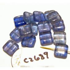 c2689 Czech Glass Tile Bead BLUE  8mm