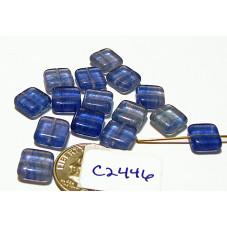 C2446 Czech Glass Tile Bead BLUE 8mm